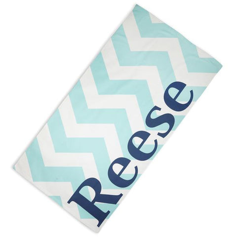 Aqua Chevron Navy Towel with Name