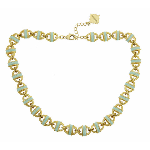 Gold Mint Enamel Basket Necklace