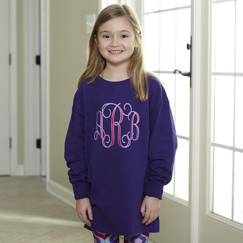 Purple With Layered Initials Tee