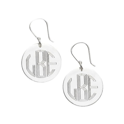 Silver Initials Round French Wire Earings