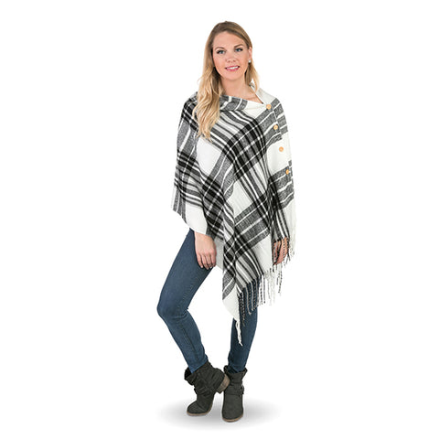 Black White Plaid 3 in 1 Wrap Scarf