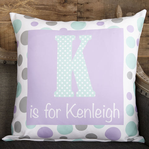 "Lavender Dots Girl Letter ""is for"" Pillow Cover"