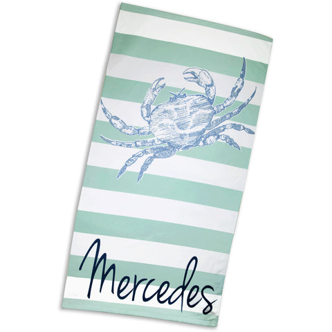 Mint Stripe Light Blue Gray Crab Towel with Name