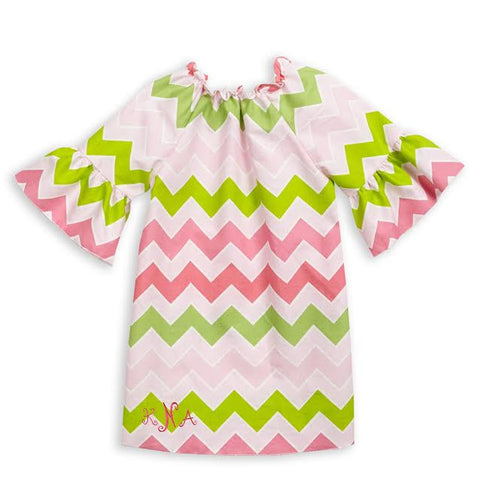 Girls Pink Lime Chevron Charlotte Dress