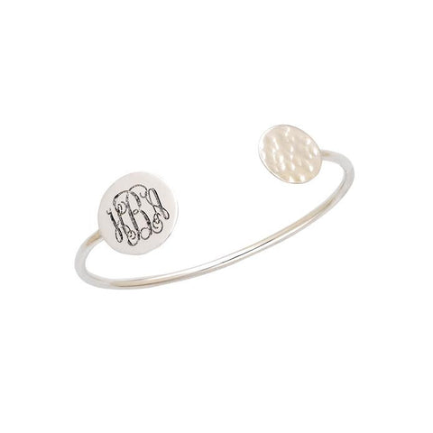 Silver Initials Hammered Bangle