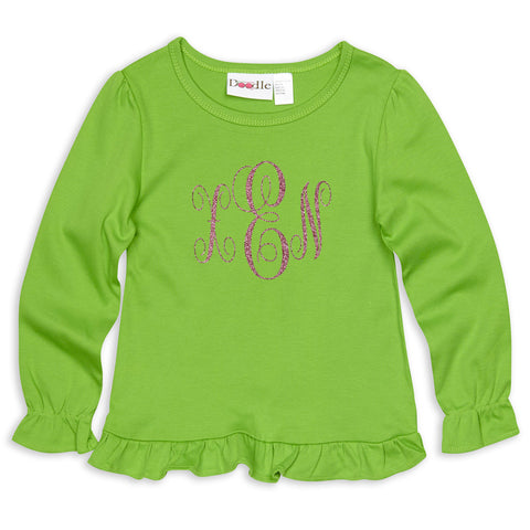 Girls Green Ruffle with Hot Pink Sparkle Initials Top