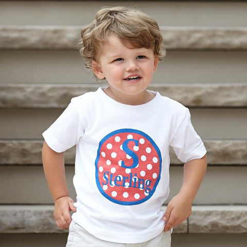 Boys Red Blue White Dot Initial Name Tee