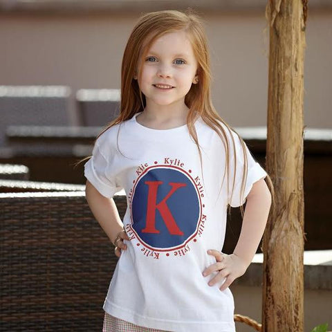 Red Navy Initial Name Tee