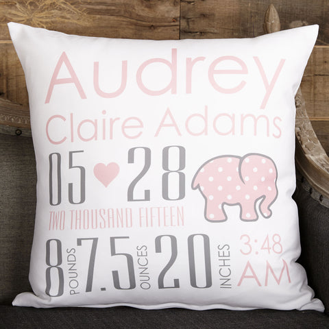 Elephant Name Birthdate Weight Inches Pillow Cover