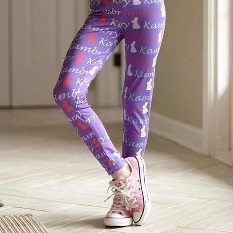 Girls Lavender Bunny NAME Arden Leggings