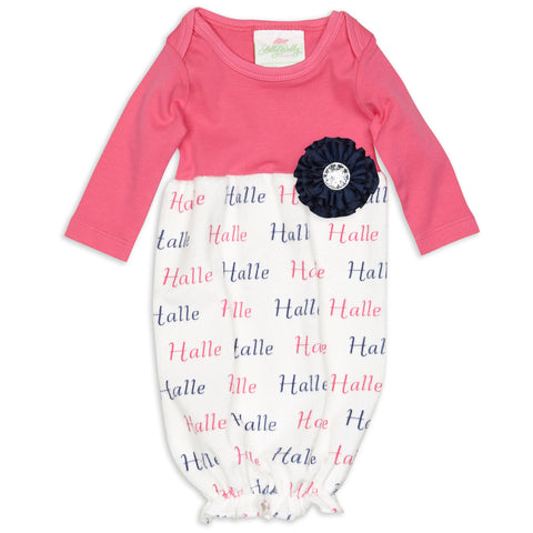 Hot Pink & Navy Minky Name Layette