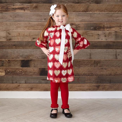 Red Pink Love Hearts Charlotte Dress