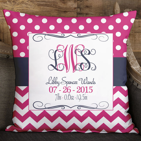 Hot Pink Dot Chevron Pillow Cover