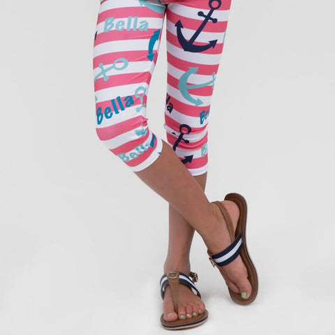 Girls Anchor NAME Arden Capri Leggings