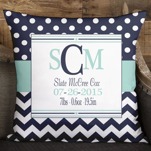 Navy Dot Chevron Pillow Cover
