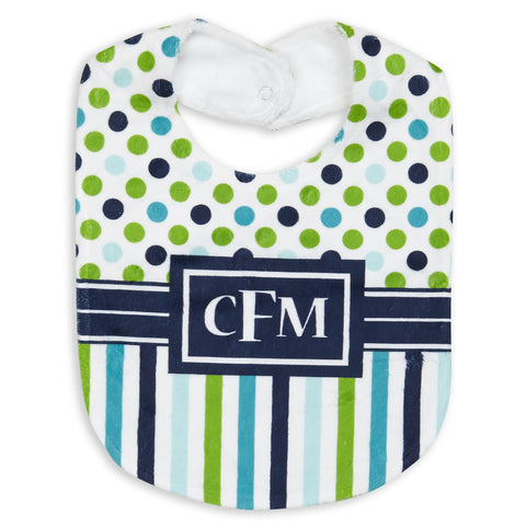 Navy Lime Dot Stripe Minky Bib