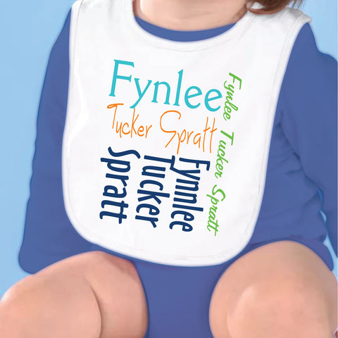 Orange Blue Name Fleece Bib