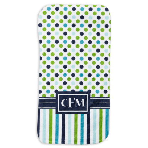 Navy Lime Dot Stripe Initial Minky Burp Cloth