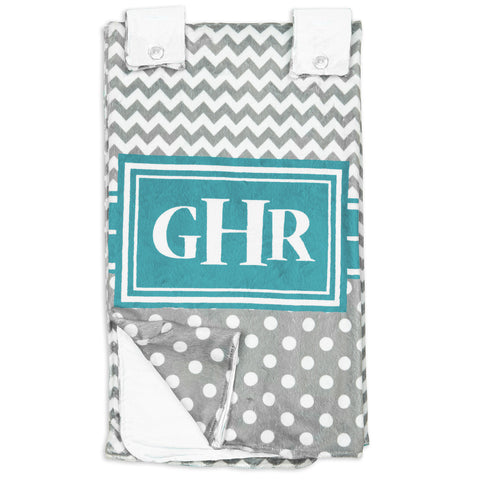 Gray Chevron Dot Teal Minky Initial Carseat Cover