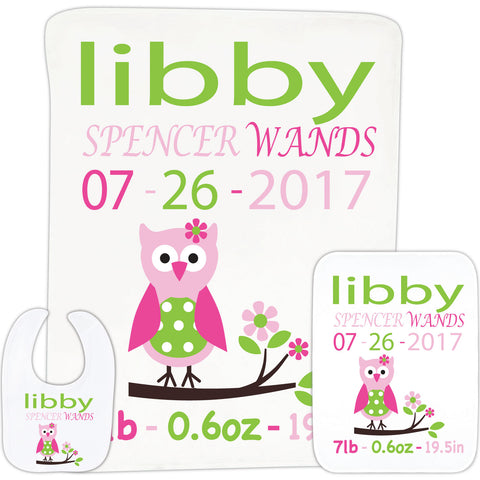 Owl Birth Info Baby Gift Set