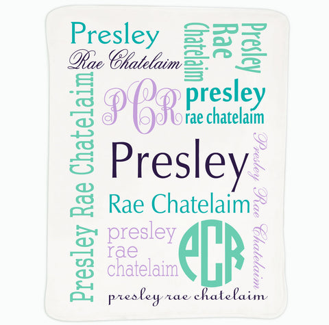 Baby Girls Purple Teal Name Blanket