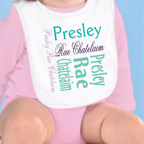 Purple Teal Name Fleece Bib
