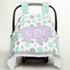 Multi Dot Elephant Minky Chevron Initial Carseat Cover