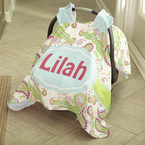 Baby Girls White Bright Paisley Minky Pink Dot Name Carseat Cover