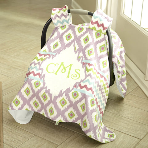 Chevron Ikat Minky Name Carseat Cover