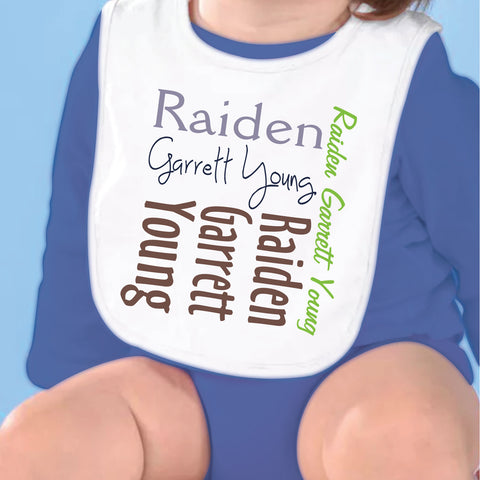 Brown Green Name Fleece Bib