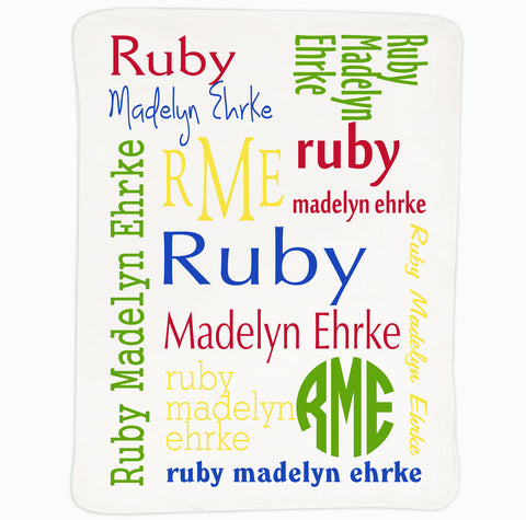 Baby Boys Primary Name Blanket