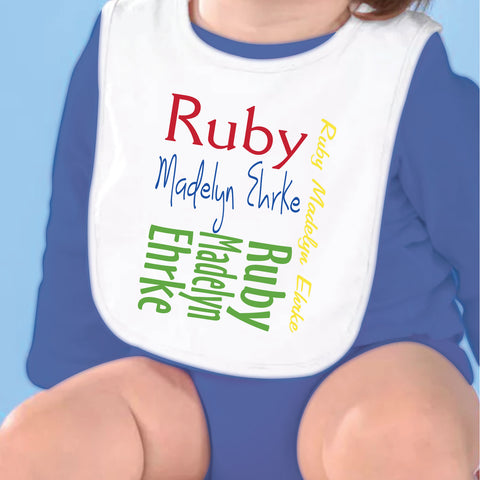 Red Yellow Name Fleece Bib