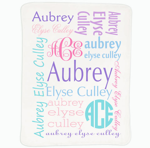 Baby Girls Pastel Name Blanket
