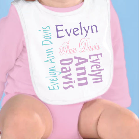 Pastel Name Fleece Bib