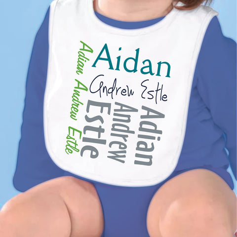 Teal Green Name Fleece Bib