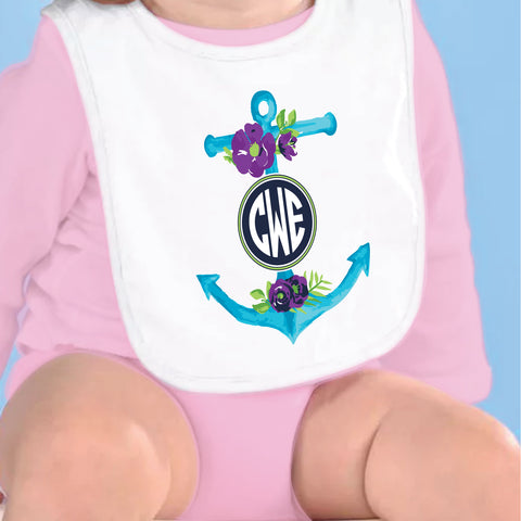 Anchor Initials Fleece Bib