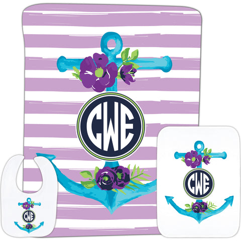 Anchor Initials Baby Gift Set