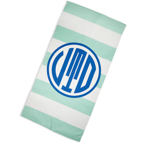 Aqua Stripe Navy Circle Towel with Initials