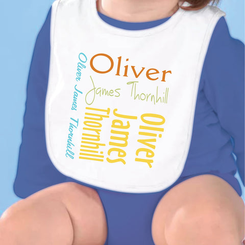 Teal Mustard Name Fleece Bib