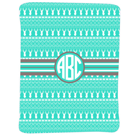 New Light Weight Boy's Aztec Deer Initial Blanket