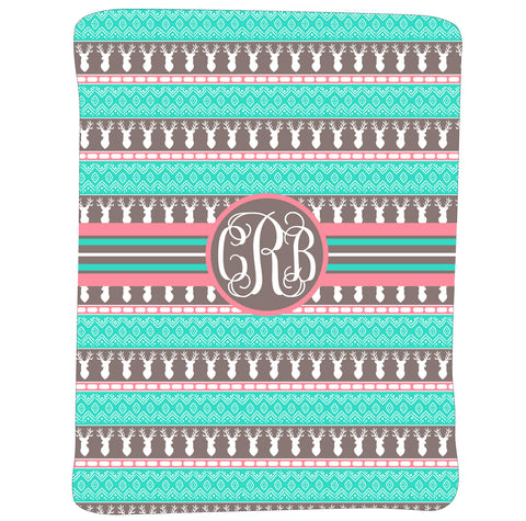 New Light Weight Girl's Aztec Deer Initial Blanket