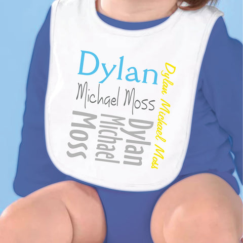 Gray Yellow Teal Name Fleece Bib