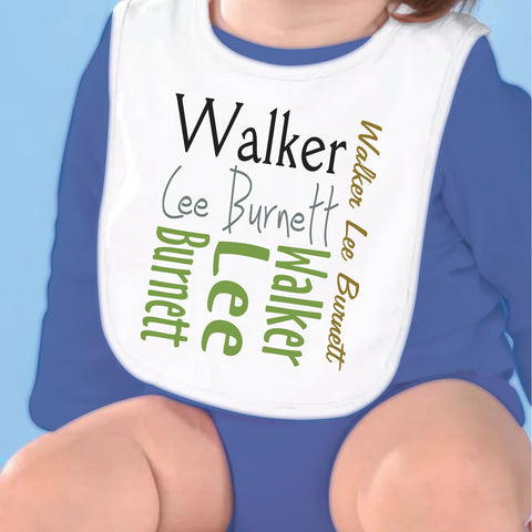 Green Brown Gray Name Fleece Bib