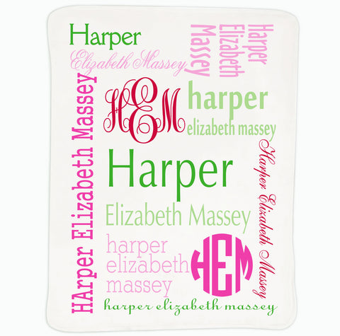 Baby Girls Green Pink Name Blanket