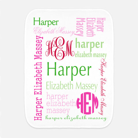 Green Pink Red Name Fleece Burp Cloth