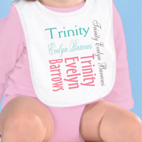 Coral Teal Name Fleece Bib