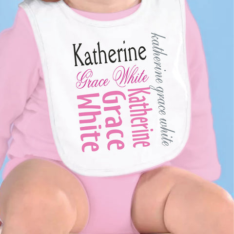 Black Pink Gray Name Fleece Bib