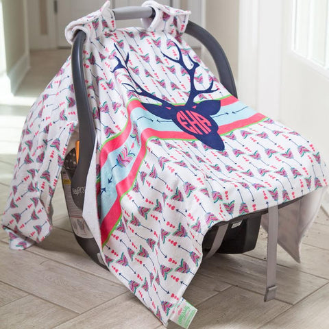 Deer Arrow Initial Carseat Cover