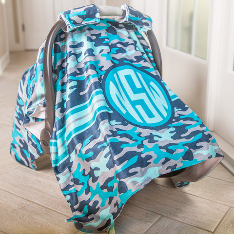 Blue Camo Initial Carseat Cover