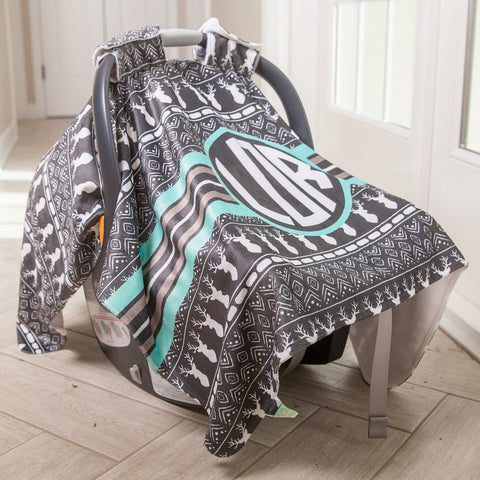 Aztec Deer Initial Carseat Cover